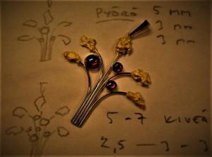 Kullan tie vuosimiljoonien kiertolaisesta vaskooliin, käteen ja koruun. Arska Alhosen korussa kultahiput kukkivat yhdessä hiottujen granaattien kanssa.