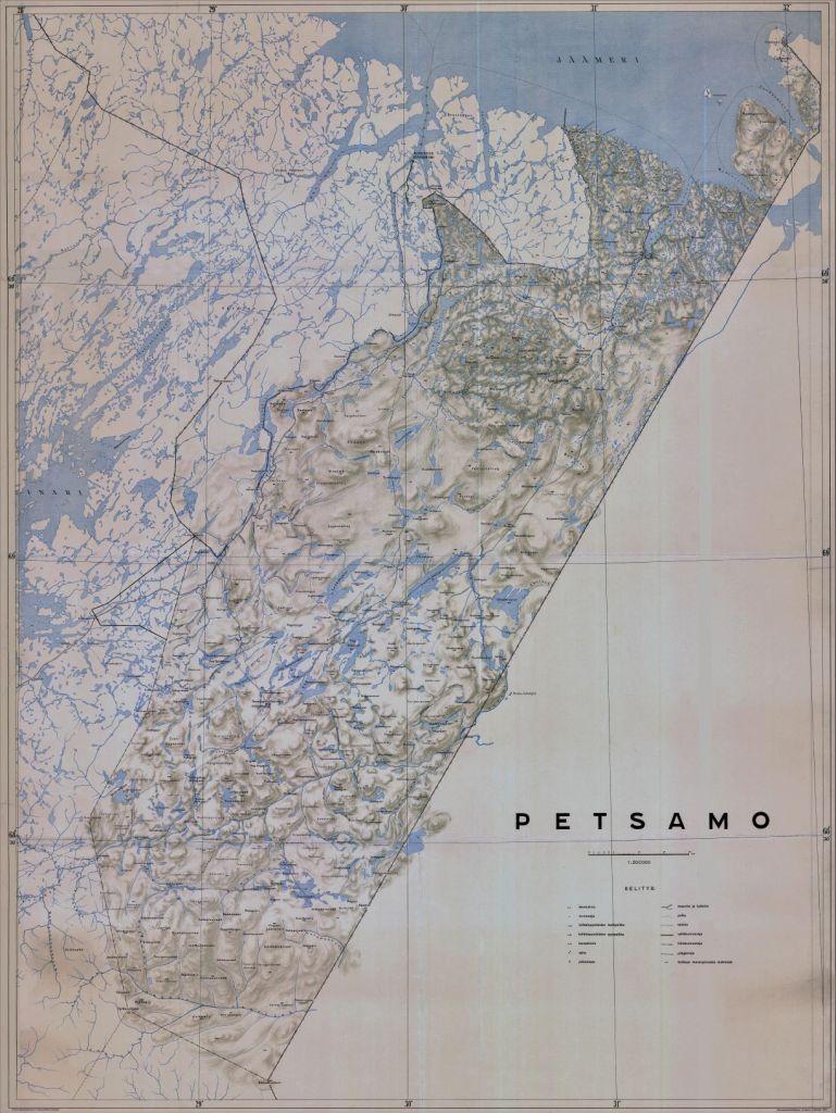Petsamon yleiskartta on painettu 1933. Nikkelikaivos ja Malmitie Kolosjoella ei vielä ole kartalla vaikka kaivostoiminnan käynnistäminen oli aluillaan.